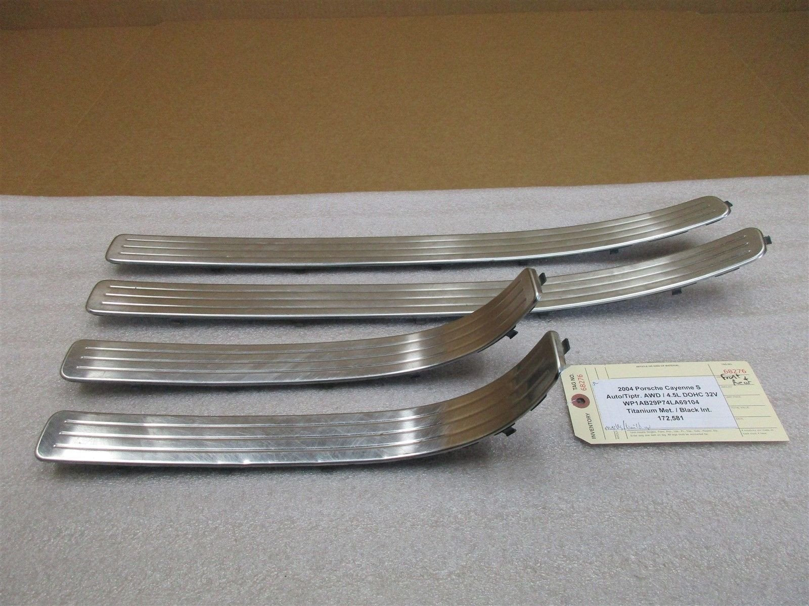 04 Cayenne S Porsche FRONT REAR DOOR SILL TRIMS 7L0853794A 7L0853793A 172,581
