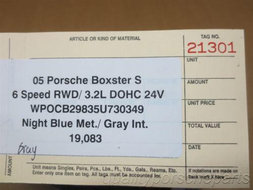 05 Boxster S RWD Porsche 987 R L Gray Center Console CARPET TRIMS 19,083