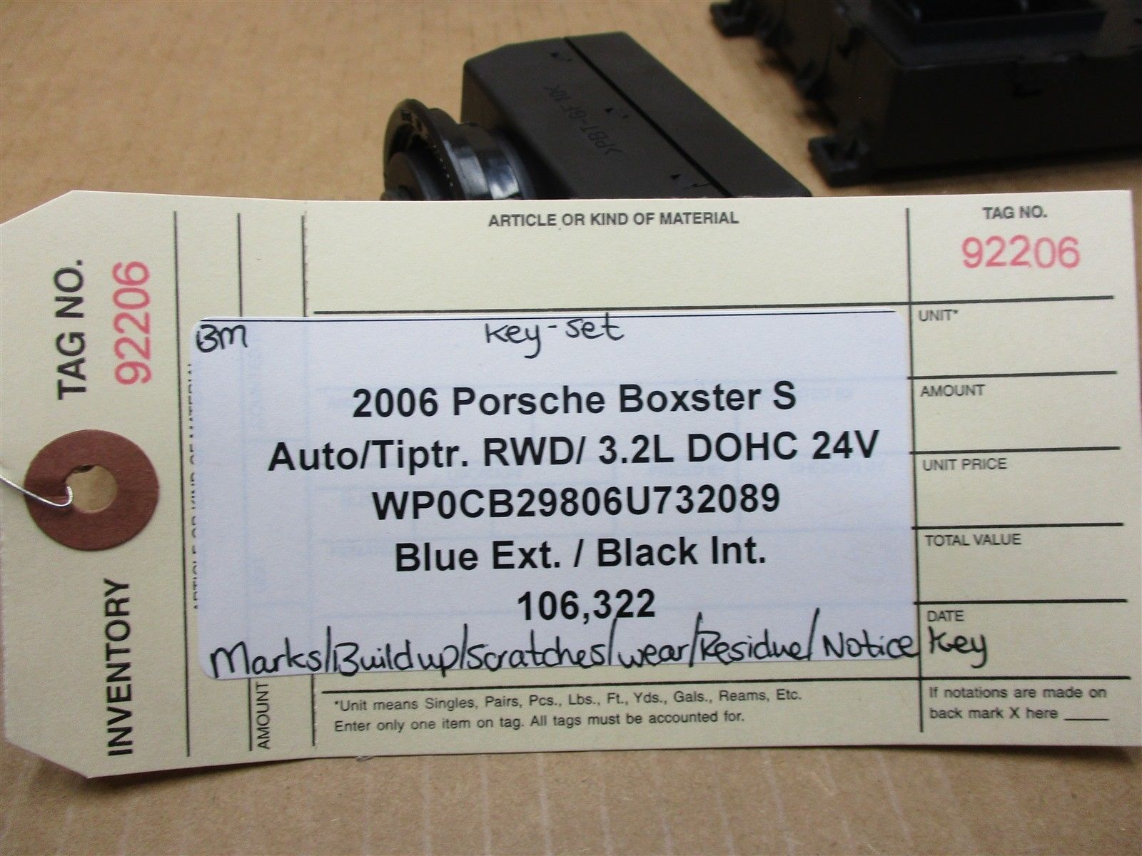 06 Boxster S Porsche 987 KEY IMMOBILISER SET 99761817212 ENGINE COMPUTER 106,322