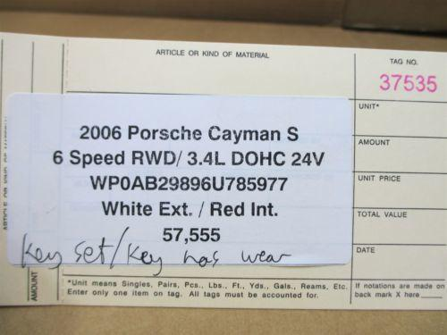 06 Cayman S RWD Porsche 987 IMMOBILISER SET ENGINE COMPUTER KEY IGNITION 57,555