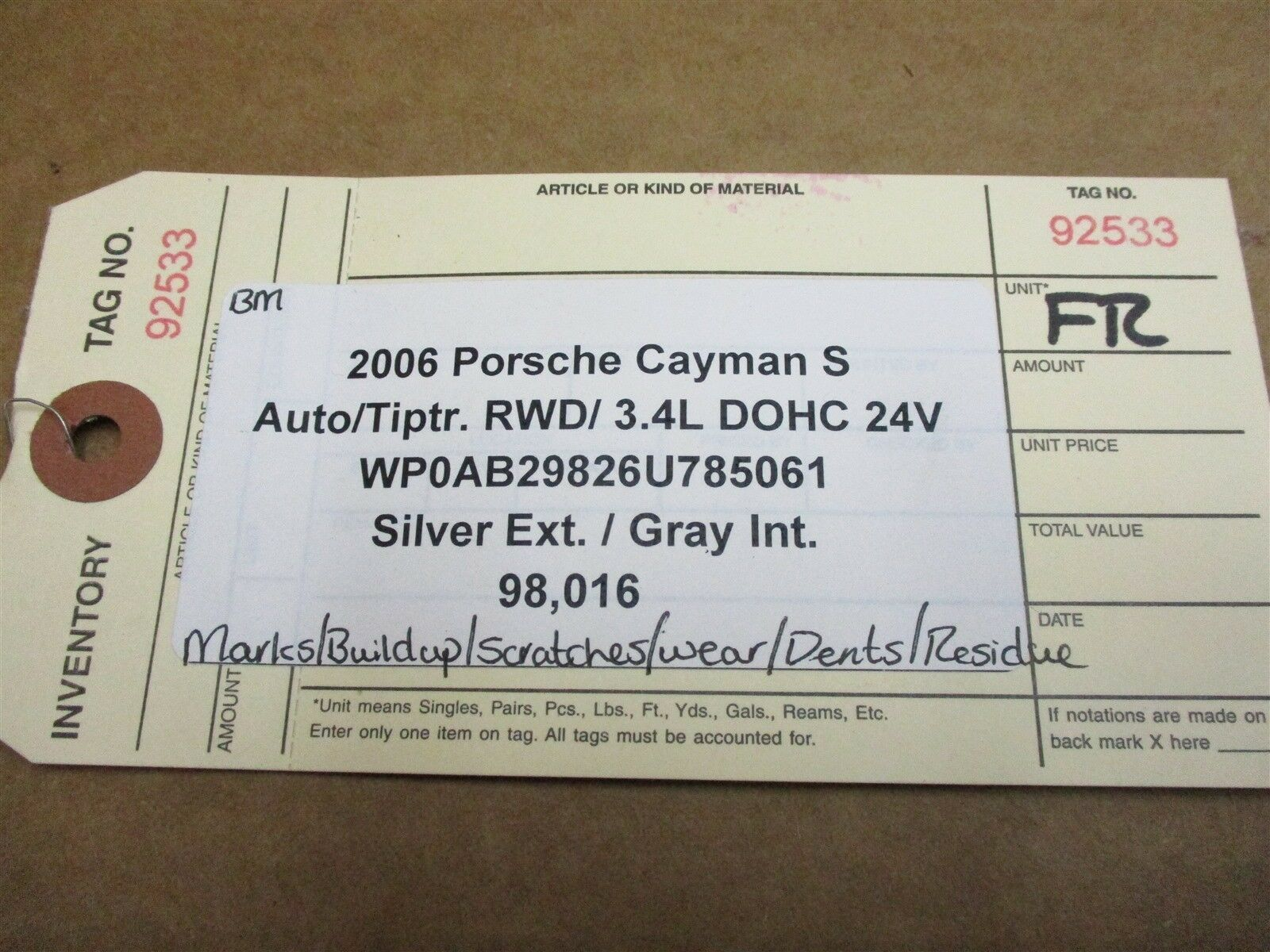 06 Cayman S RWD Porsche 987 R FRONT 12-WAY Gray Leather SEAT PASSENGER 98,016