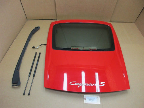 07 Cayman S Porsche 987 REAR Red EXTERIOR HATCH TRIM + WINDOW 98761267000 44,931