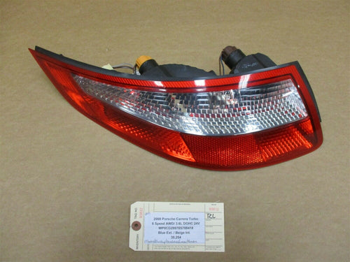08 Carrera Turbo 911 AWD Porsche 997 Cabrio L TAIL LIGHT TAILLIGHT DRIVER 30,254