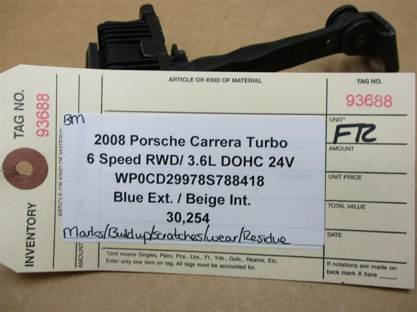08 Carrera Turbo 911 Porsche 997 R FRONT DOOR CHECK ARRESTER 99753715102 30,254