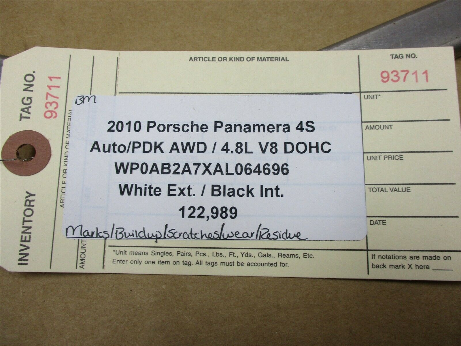 10 Panamera 4S AWD 970 Porsche SUSPENSION BRACKET 122,989