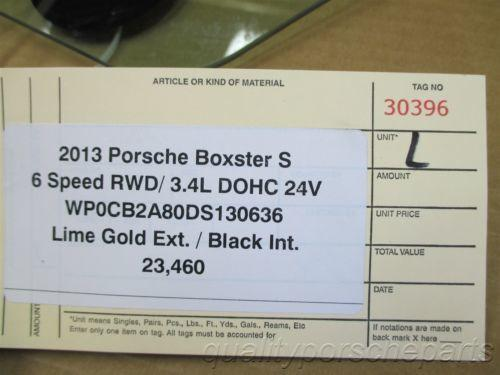 13 Boxster S RWD Porsche 981 L Front door GLASS WINDOW PANE TINTED 23,460