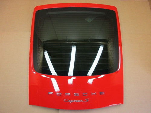 14 Cayman S RWD Porsche 981 REAR Red HOOD TRIM COVER + GLASS WINDOW 12,926