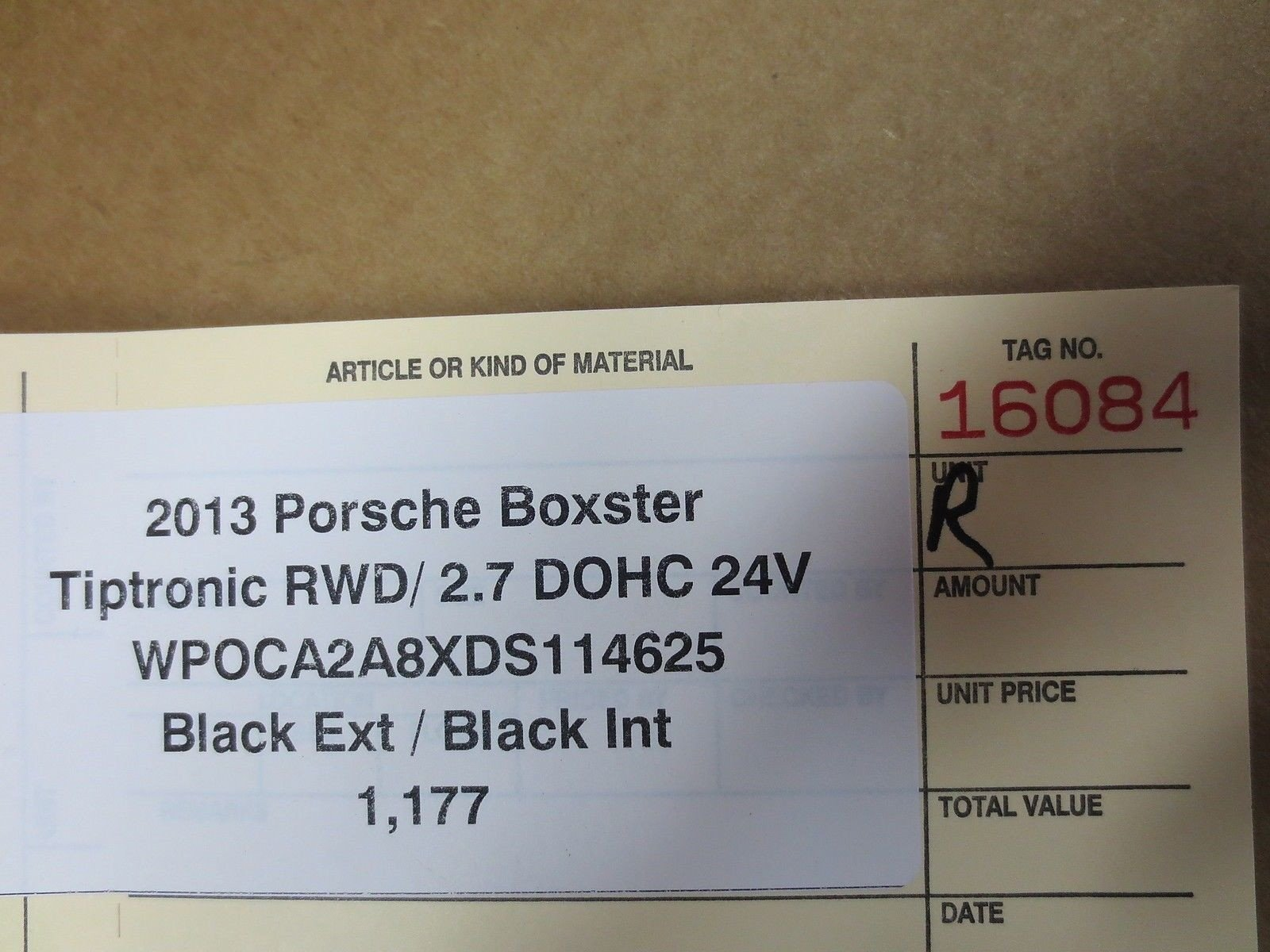2013 Porsche 981 BOXSTER R BLACK TRIM panel cover 98155521601 1,177