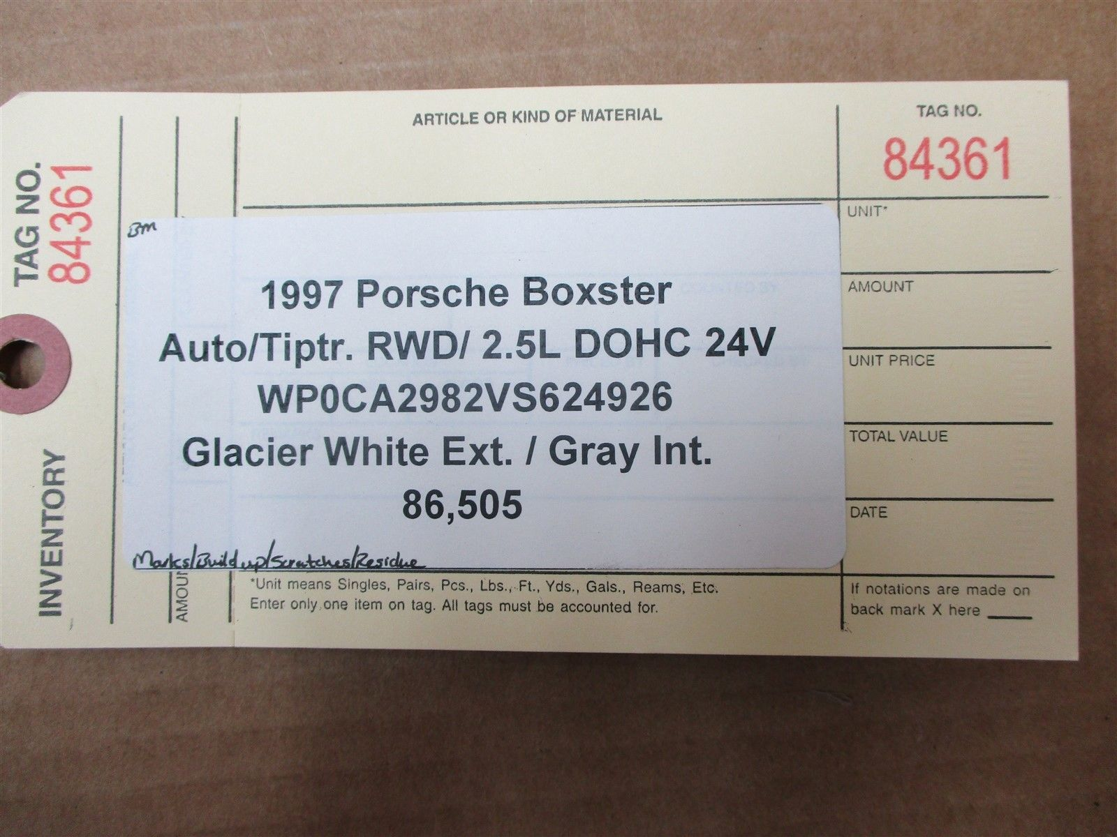 97 Boxster RWD Porsche 986 Black ROLL BAR TRIM + WINDOW 86,505