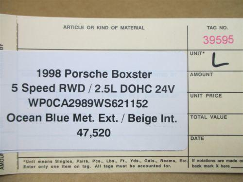 98 Boxster RWD Porsche 986 L Blue Exterior Side REAR VIEW MIRROR 47,520