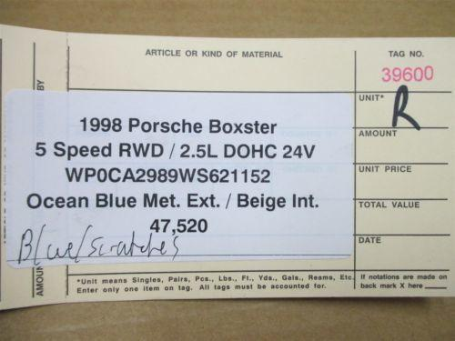 98 Boxster RWD Porsche 986 R Blue Exterior SIDE REAR VIEW MIRROR 47,520