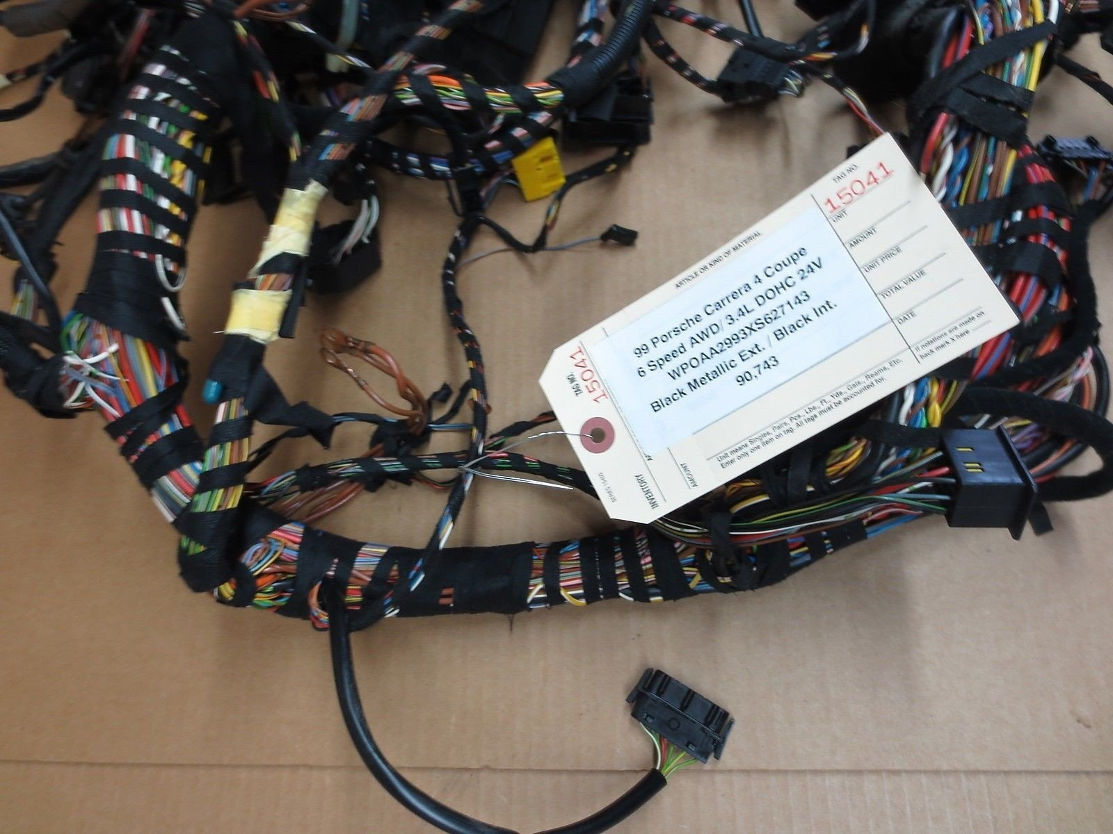 99 Porsche 911 Carrera 4 Coupe AWD 996 MAIN WIRING HARNESS WIRE loom 90,743