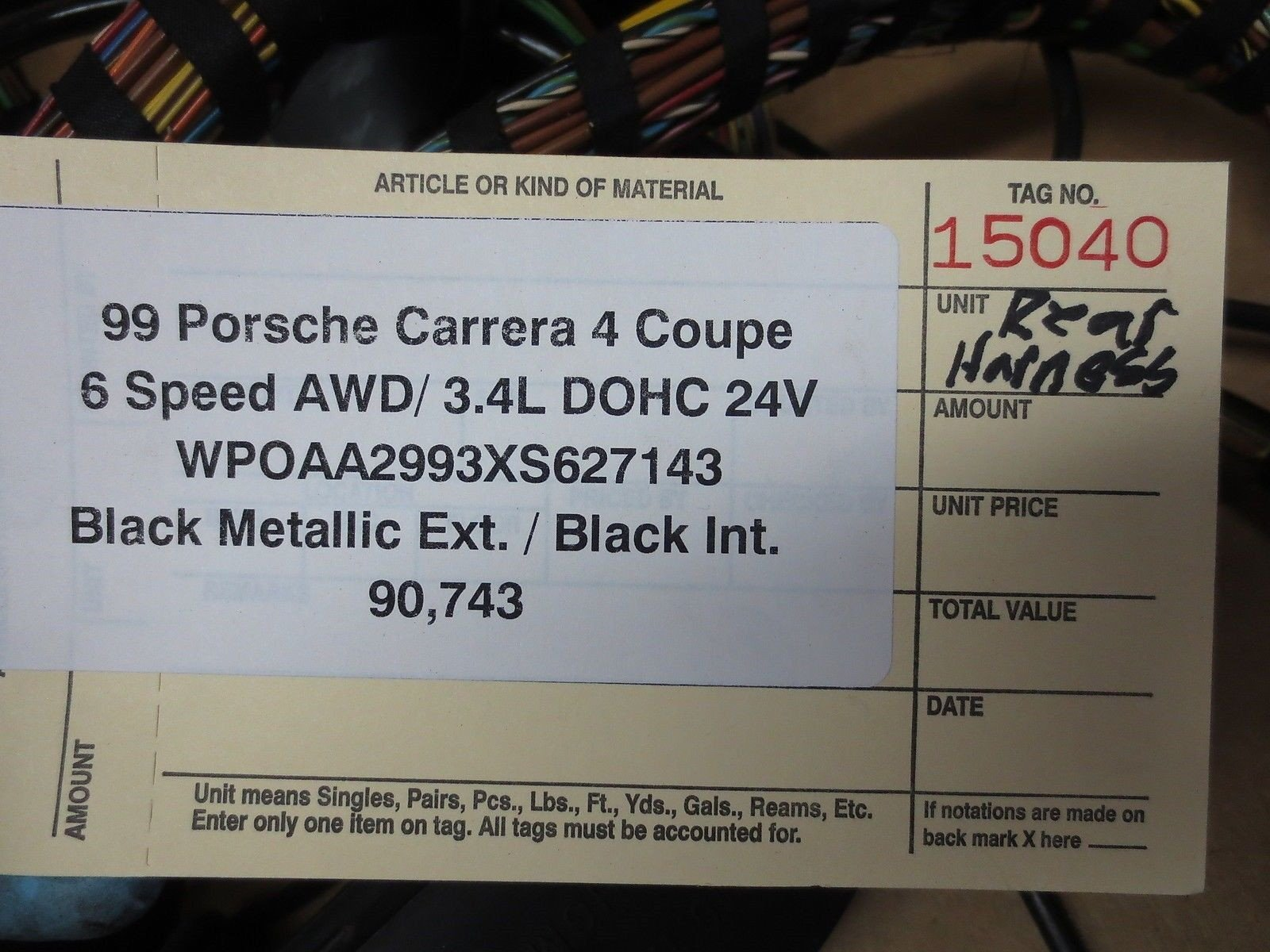 99 Porsche 911 Carrera 4 Coupe AWD 996 REAR WIRING HARNESS WIRE relays 90,743