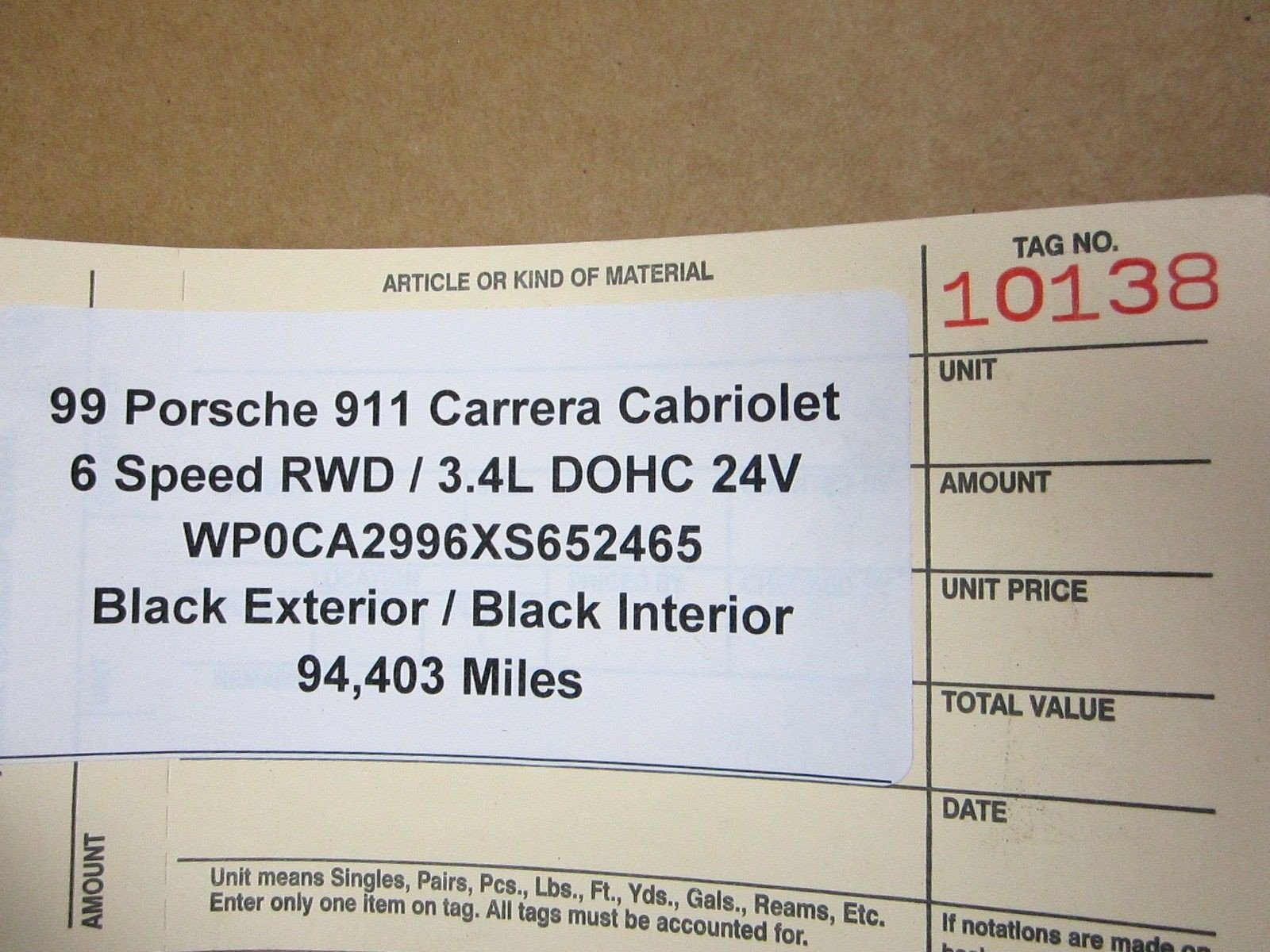 99 RWD Porsche 911 Carrera Convertible 996 ground cable negative wire 94,403