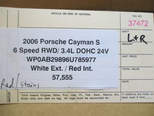 06 Cayman S RWD Porsche 987 R L Red CARPET TRIM COVERS 57,555