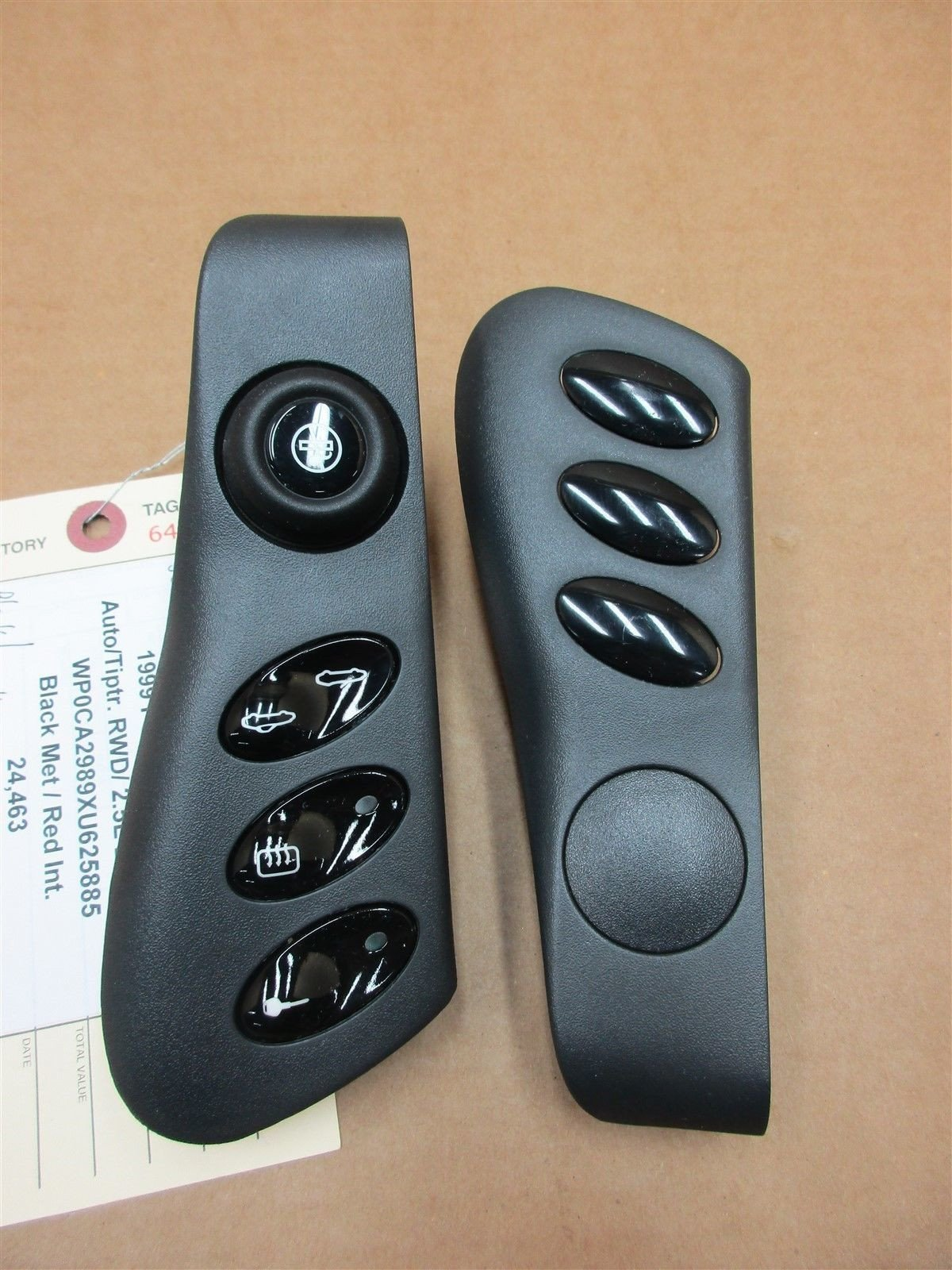 99 Boxster RWD Porsche 986 L R Black CONSOLE TRIM SWITCHES 98655223300 24,463