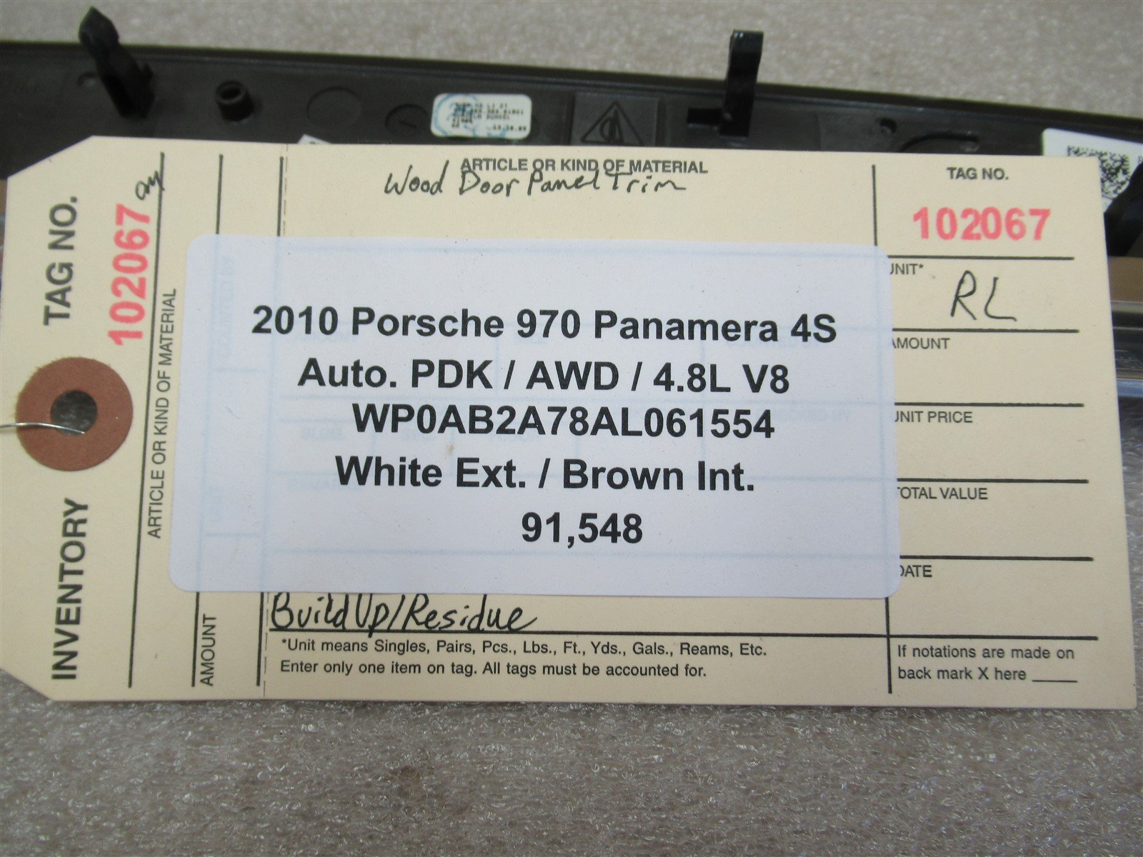 10 Panamera 4S AWD Porsche 970 RL INTERIOR Wood Door TRIM 97055538301BG1 91,548