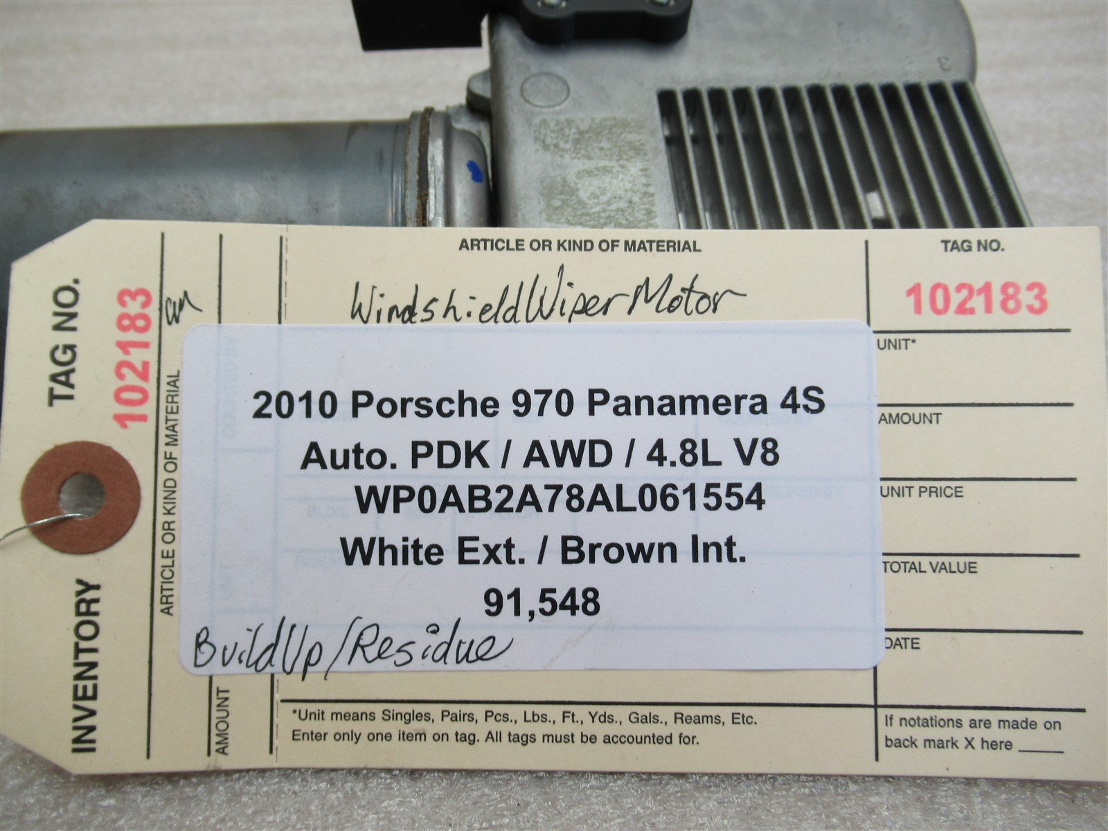 10 Panamera 4S AWD Porsche 970 WINDSHIELD WIPER MOTOR 97062410501 91,548