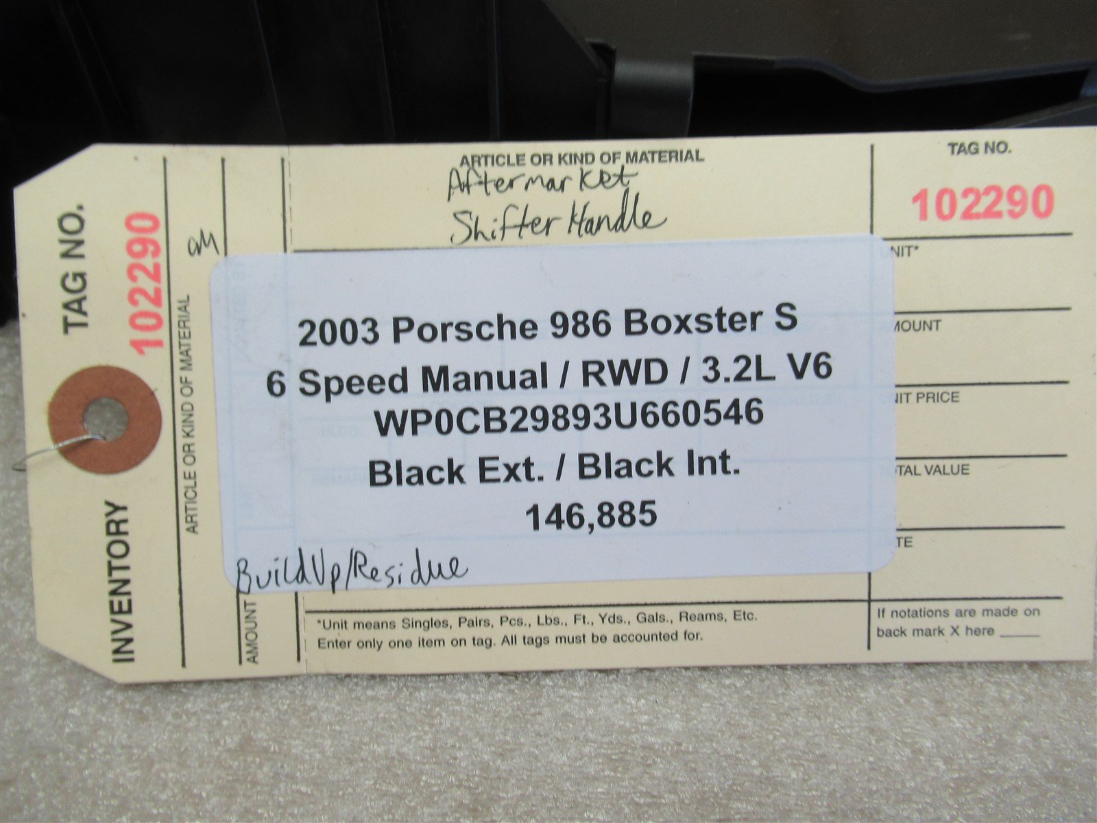 03 Boxster S RWD Porsche 986 AFTERMARKET 6 SPEED MANUAL SHIFTER HANDLE 146,885