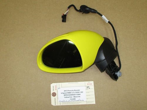 13 Boxster RWD Porsche 981 L EXTERIOR REAR VIEW MIRROR HOUSING Yellow 112,629