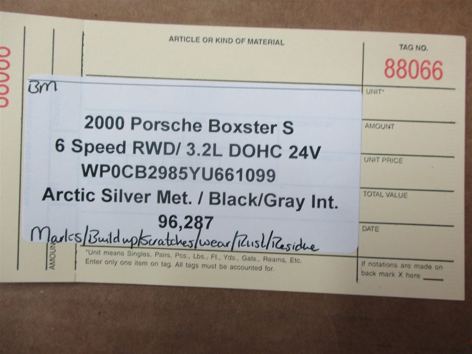 00 Boxster S RWD Porsche 986 PINION POWER STEERING RACK 99634701106 96,287