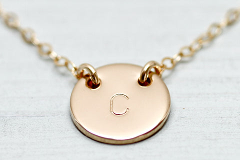 Petite Initial Disc Necklace - Sea and Cake