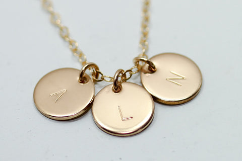 Three Initial Disc Necklace - Sea and Cake