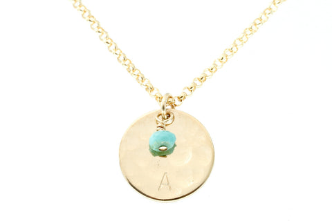 Initial and Birthstone Necklace - Sea and Cake