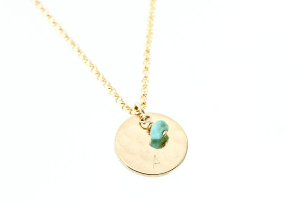 Gold disc necklace with turquoise