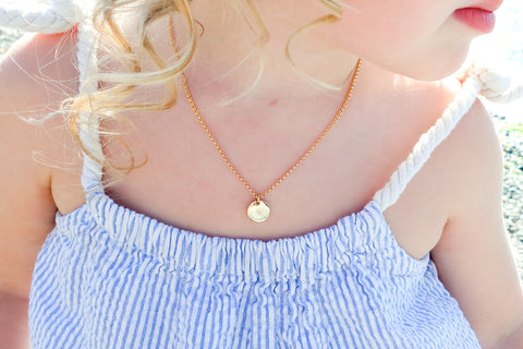 Gold Initial Necklace for Girls - Sea and Cake