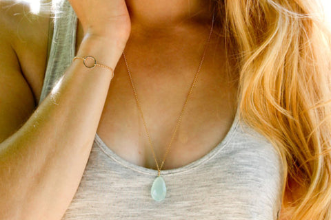 Aqua Chalcedony Teardrop Necklace - Sea and Cake