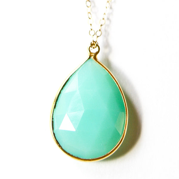 Chrysoprase Teardrop Necklace - Sea and Cake