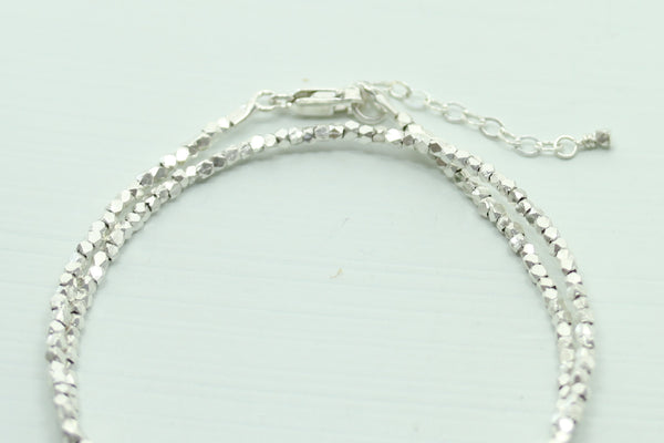 Fine Silver Beaded Bracelet - Double Wrap - Sea and Cake
