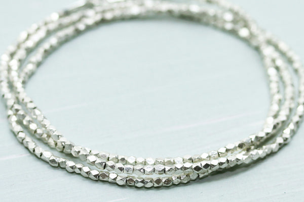 Fine Silver Bracelet - Triple Wrap - Sea and Cake