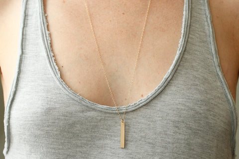 Custom Gold Bar Necklace - Sea and Cake