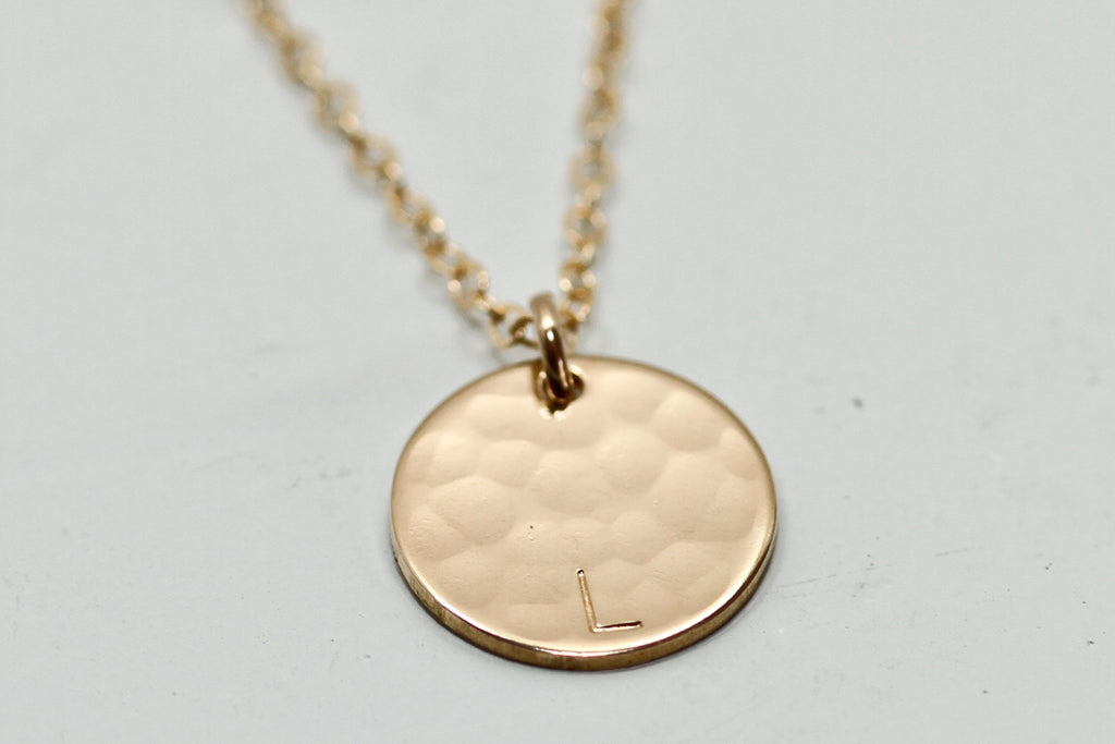 Gold Disc Necklace with Initial - Sea and Cake