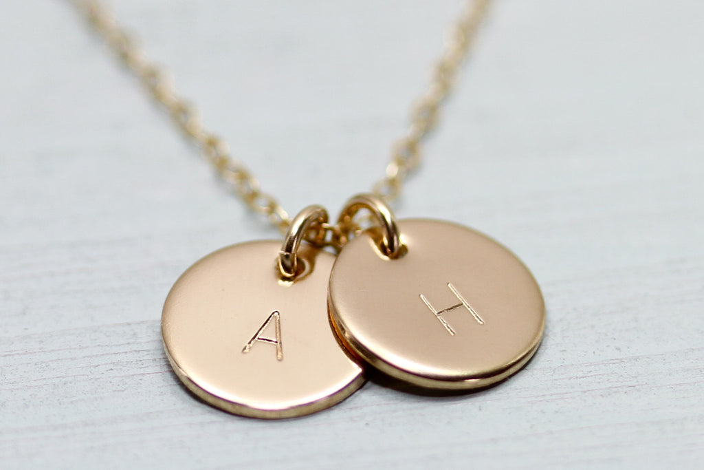 Two Initial Disc Necklace - Sea and Cake