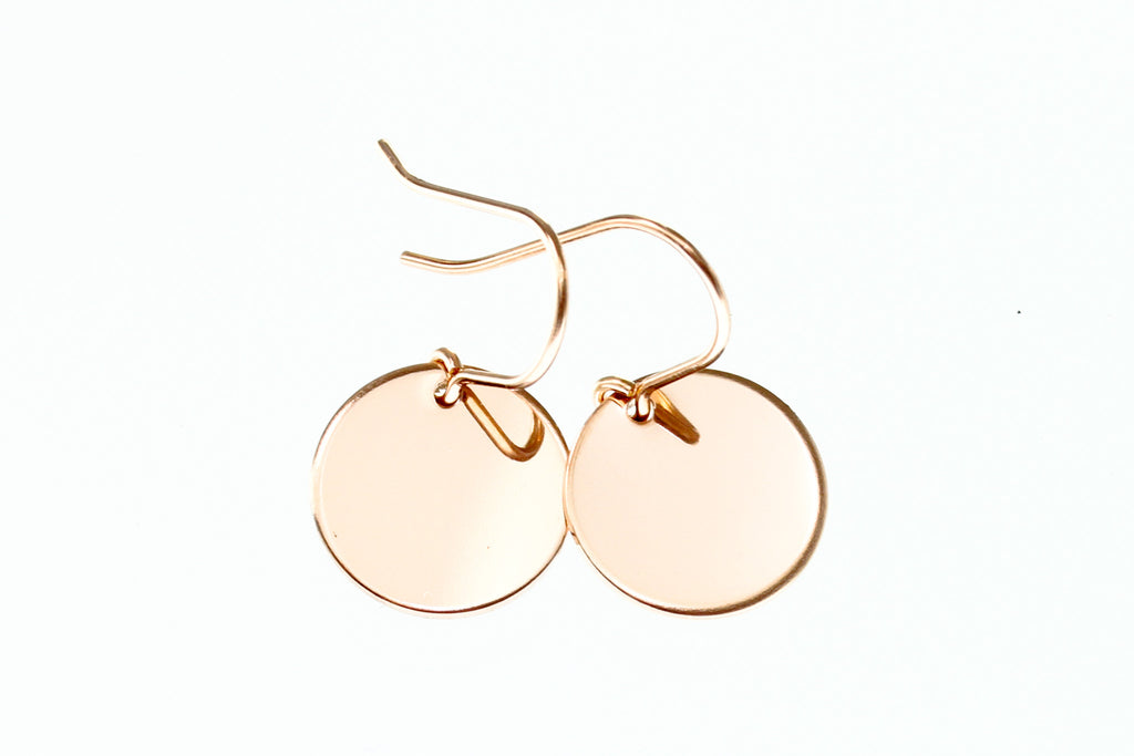 Rose Gold Disc Earrings - Sea and Cake