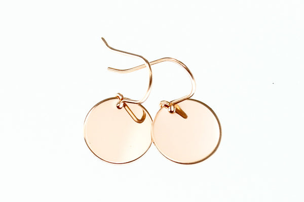 Rose gold disc earrings