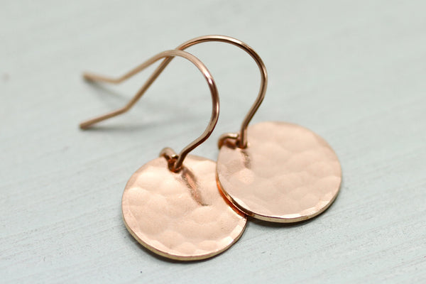 Hammered Rose Gold Disc Earrings - Sea and Cake
