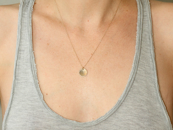 Hammered Gold Disc Necklace - Sea and Cake