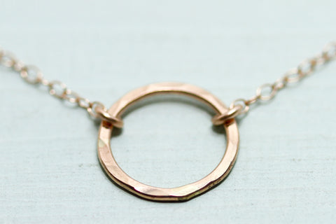 Rose Gold Circle Necklace - Sea and Cake