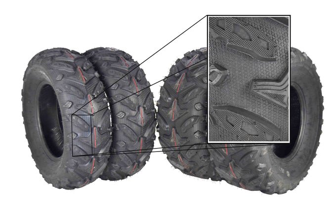 MASSFX Grinder Dual Compound ATV Tires 24x8-12 Front 24x10-11 Rear Set