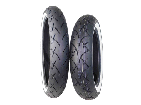 Full Bore 120/70-21 Front 130/90-16 Rear White Wall Motorcycle Tires