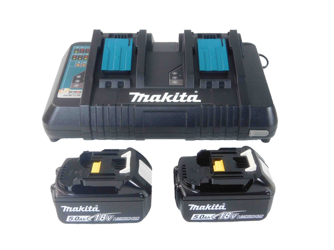 Makita DC18RD 18V Dual Port Rapid Charger With Two Batteries