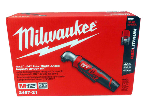 "Milwaukee 2467-21 M12 1/4"" Cordless Right Angle Impact Driver Wrench"