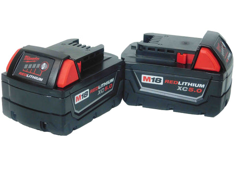 Milwaukee 48-11-1852 M18 18-Volt Lithium-Ion XC 5.0Ah Extended Capacity Battery (2-Pack)