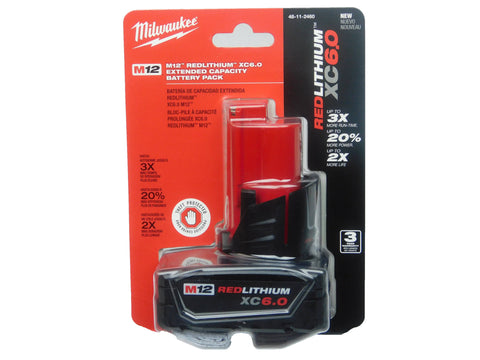 Milwaukee 48-11-2460 12-Volt 6-Amp Extended Capacity Battery Pack