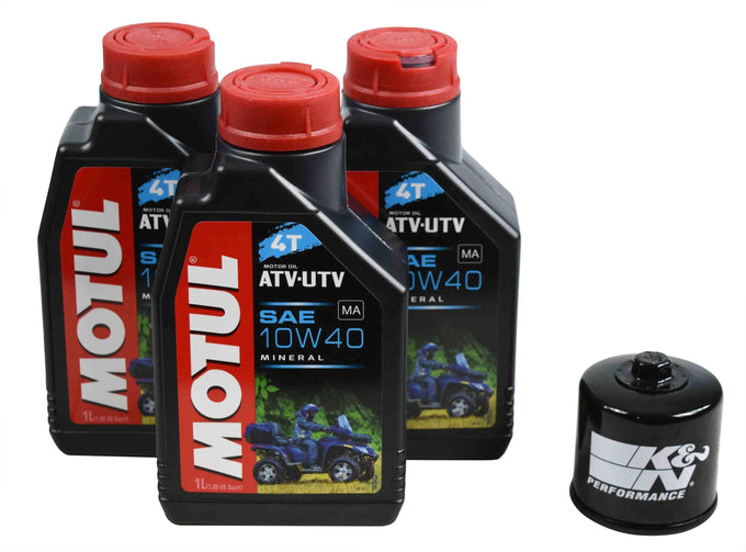 Motul 105878 10W-40 3 Liters Mineral Engine Oil Change Kit w/ KN-138 K&N Filter