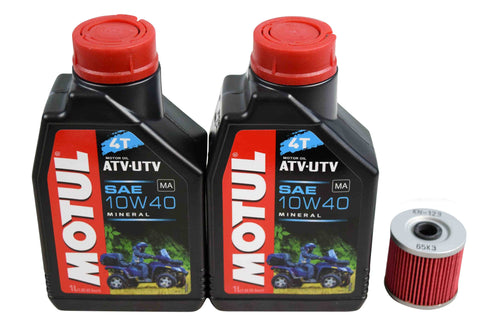 Motul 105878 10W-40 2 Liters Mineral Engine Oil Change Kit w/ KN-123 K&N Filter